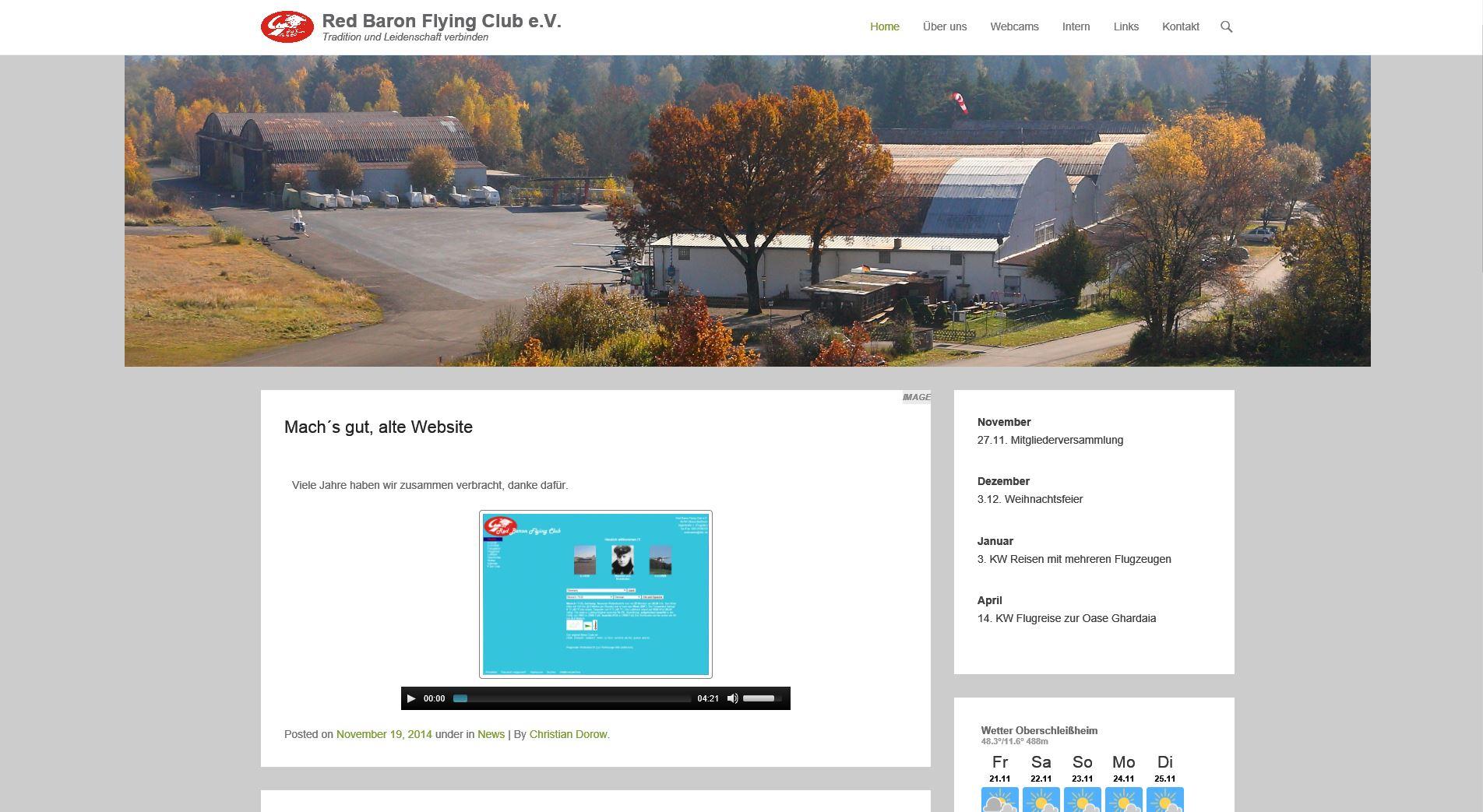 Neue Webseite für RED BARON FLYING CLUB ist Online