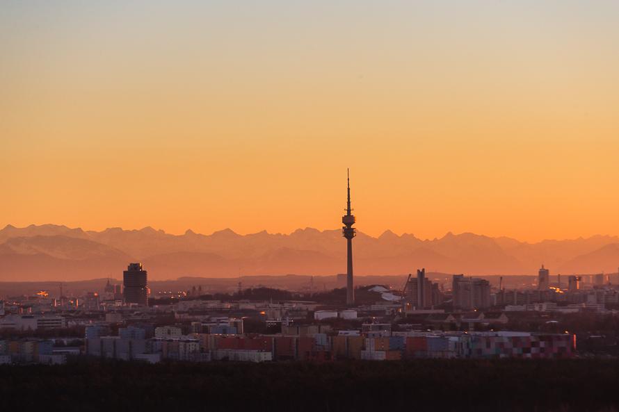 Europa, Deutschland, Bayern, München, Alpen, Abendlicht, Luftbild
